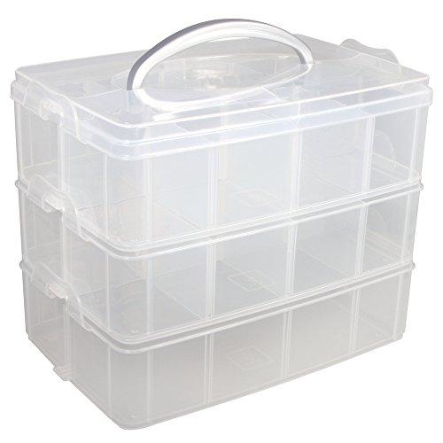 RAYHER Sortierbox mit Tragegriff, 3 Etagen mit insg. 17 Fächern, 23,1 x 15,6 x 18,5 cm.