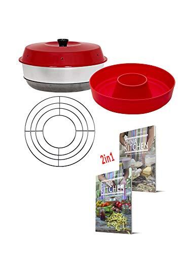 OMNIA-KITCHEN Omnia Backofen 4-teiliges Spar-Set | Backofen + Silikon-Backform 2.0 + 2in1 Koch- und Backideen + Aufbackgitter