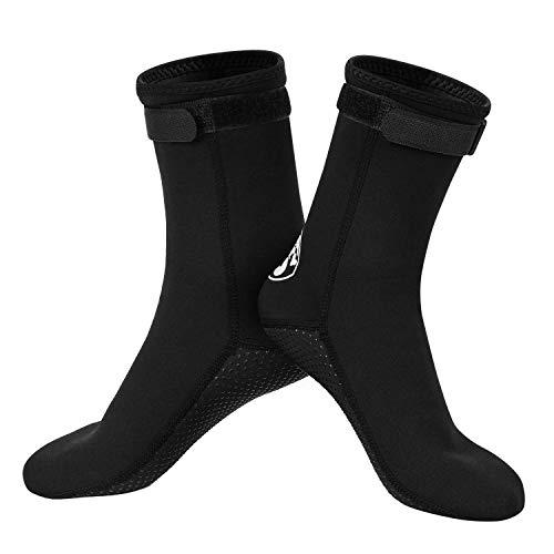 Qkurt Tauchsocken,3mm Neopren-Socken für Tauchen, Schnorcheln und Wassersport, Anti-Rutsch-Flossen-Socken für Männer, Frauen