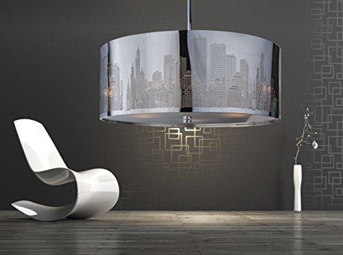 XXL Skyline Luxus Hängelampe   Hängeleuchte New York   Deckenlampe   Lampe 50cm   Lounge   Wohnzimmer   Esszimmer   Schlafzimmer   Chrom   dimmbar   LED geeignet  4x E27 Fassung