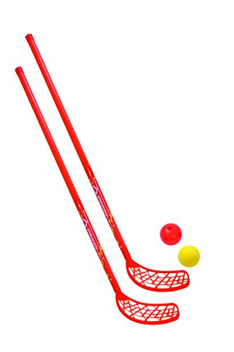 Schildkröt Funsports Hockey Set 2 Schläger 2 Bälle Streethockey Inline Eis Fun, Rot, One Size, 970135