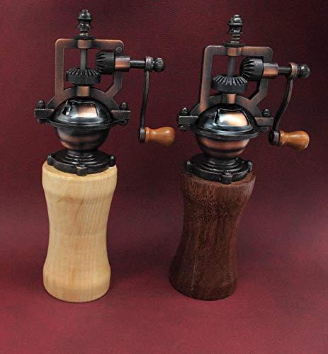SET Gewürzmühle aus Holz Pfeffermühle Vintage Einstellbares Mahlwerk Handgedrechselt Unikat aus Mahagoni u. Esche