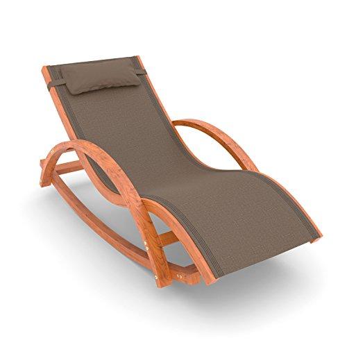 Relax Schaukelstuhl Rio | 100% wetterfeste Gartenliege | Relaxliege mit Armlehnen | Gartenmöbel aus vorbehandeltem Holz | Stuhl Bespannung braun