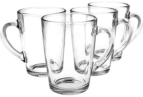 COM-FOUR 4 Teegläser, Trinkgläser aus Glas mit Henkel für Tee, Kakao, Kaffee und Cappuccino (04 Stück - 300ml)
