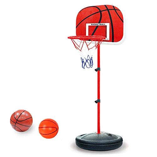 Pellor Einstellbare Basketballständer, Basketballkorb mit Ständer Höhenverstellbar Basketball-Backboard Ständer & Hoop Set für Kinder (Rot, Gesamthöhe:150cm)