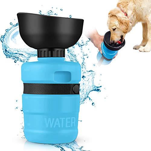 MIFIRE Hundetrinkflasche Unterwegs mit ON/Off auslaufsicherer Trinkschale Faltbarer Hunde/Katze Wasserflasche für Outdoor Spaziergang, Unterwegs, Reise und Wandern BPA Frei (550ml)