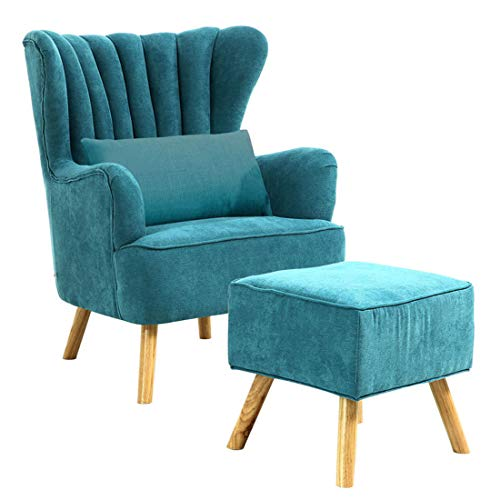 Lifelook Ohrensessel mit Hocker Moderner TV Sessel Retro Stoffsessel Armlehnensessel Fernsehsessel Polstersessel Federkern Stoff für Schlafzimmer Wohnzimmer Büro (Blau)