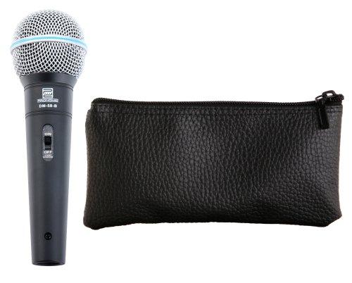 Pronomic DM-58-B Dynamisches Gesangs Mikrofon mit Schalter (Für Sprache, Gesang und Instrumente, Richtcharakteristik: Superniere, Frequenzgang: 70 - 16.000 Hz, inkl. Tasche, Klemme, Reduziergewinde)
