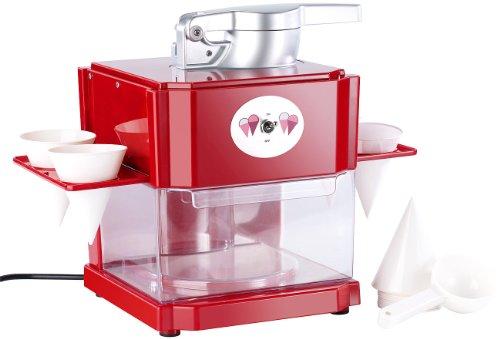 Rosenstein & Söhne Slush Maker: Shaved-Ice-Maker mit 4 Eisbechern und Servierhalter (Slush Maschine)