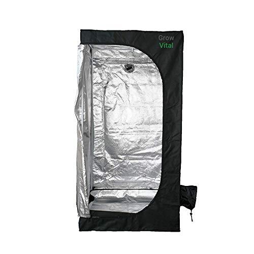 GrowVital Lisbon Growzelt 60x60x160cm, Growbox für Homegrow, Indoor Anbauzelt, Grow Tent mit Lichtdicht, Gewächshaus, schwarz, Pflanzzelt