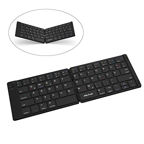 Jelly Comb Bluetooth Tastatur, Faltbare Mini Funktastatur für iOS iPad, Android Tablet, Windows PC usw, QWERTZ Deutsches Layout, Schwarz