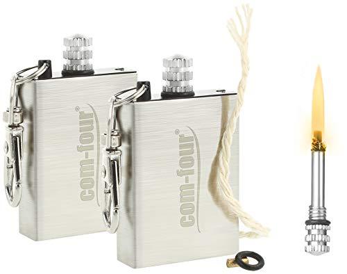 com-four 2X Camping Streichholz, ewige Streichhölzer, Permanent Matches, Feuerzeug mit Feuerstein als Schlüsselanhänger (02 Stück)