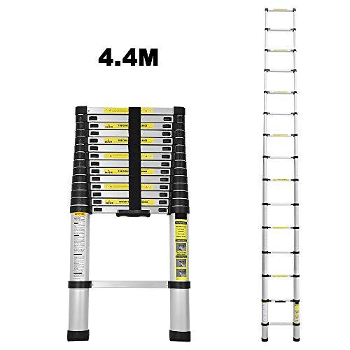 4.4M Teleskopleiter Alu Klappleiter Multifunktionsleiter Leicht zu tragen max Belastbarkeit 150 kg