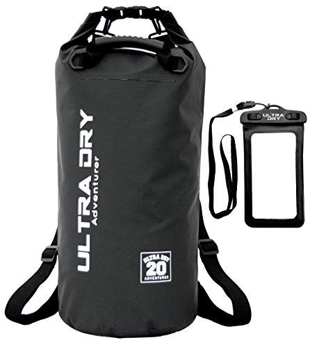Ultra Dry Wasserdichte Tasche/Sack, Trockentasche Premiumqualität, wasserdichter Handybeutel und langer, verstellbarer Schultergurt inklusive, geeignet zum Kajak-, Boot-, Kanufahren/Angeln/Rafting/Schwimmen/Camping/Snowboarden, schwarz, 20 l