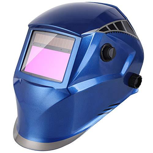 FIXKIT Schweißhelm, Automatik Schweißmaske mit Uv-Schutz:16  und 4 optische Sensoren(Dunkelzustand:DIN 5-9/9-12), inkl.6 austauschbare Objektive