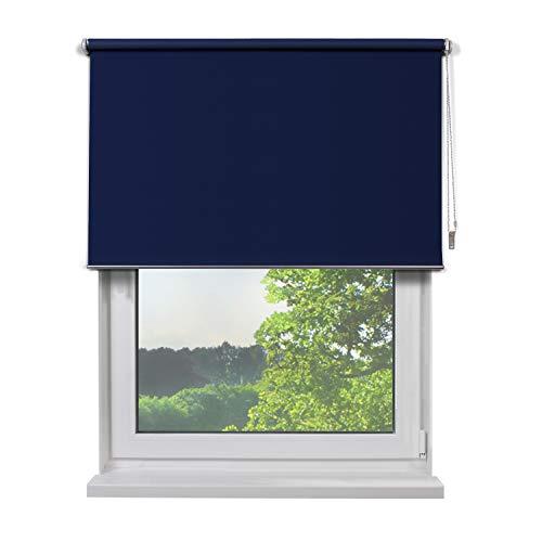 Fertig Verdunkelungs-Rollo, 160 x 180 cm (BxH), Farbe Blau, zum Bohren und Schrauben, verdunkelnd und Blickdicht, Rollos für Fenster, Seitenzug-Rollo