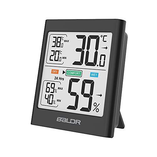 BALDR B0135 Thermometer Hygrometer Digital Innen,Thermo Hygrometer Raumthermometer Hydrometer Feuchtigkeit Innen Außen mit Hintergrundbeleuchtung, Komfortanzeige für Babyraum, Wohnzimmer, Büro, usw