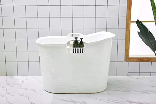 Mobile Badewanne, Ideal für das kleines Badezimmer, 92 * 51 * 63cm, Stylisch und Stimmungsvoll (Weiß)