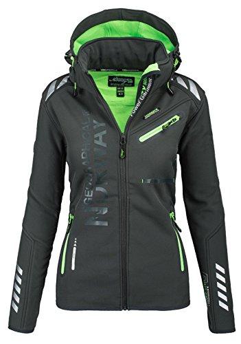 Geographical Norway Damen Softshell Funktions Outdoor Regen Jacke Sport [GeNo-24-Dunkelgrau-Gr.XL]