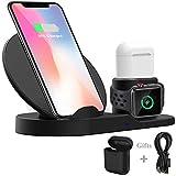 Wonsidary Fast Wireless Charger, Wireless Ladegerät Ladestation 3 in 1 für iPhone AirPods Apple Watch 3/2/1, iPhone XS/XS Max/XR/X/ 8/8 Plus, Samsung Galaxy, alle Qi-fähigen Telefone
