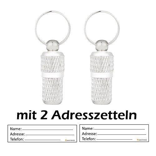 2 Stück ! (Doppelpack) Adressanhänger Geriffelt In Silber XS / Mini 2 CM Länge Für Hunde Und Katzen Mit Adressetiketten / Wasserdicht / Pillendose / Adresshülse Von Amathings