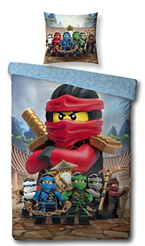 Character World Kinder Bettwäsche Set Lego Ninjago, 135x200cm + 80x80cm, Linon Baumwolle (Ninjago Red, 100% Baumwolle Linon)