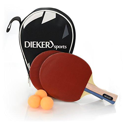 PREMIUM Tischtennisschlaeger Set von Dieker Sports - erstklassigem Spielgrip - 2 Tischtennisschläger + 3x3 Stern hochwertige Bälle - Allround Tischtennis Set