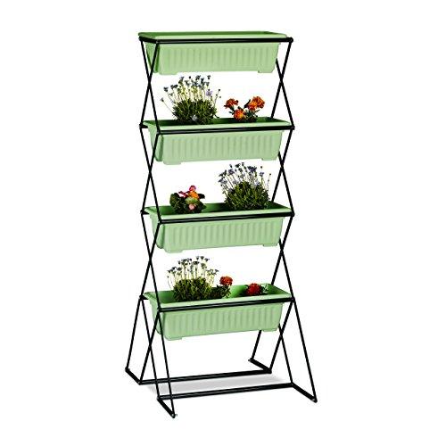 Relaxdays Vertikalbeet mit 4 Blumenkästen, Stahl, Indoor, Outdoor Nutzung, faltbares Hochbeet, Kräuterturm, schwarz
