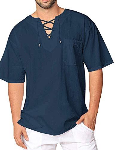 Burlady T-Shirt Baumwolle Yoga Shirt Hippie Fisherman Sommerhemd Top Leinenhemd luftig schnelltrockend (70-blau, XL)