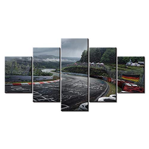 woplmh Wandbilder Home Dekorativ Modern -5-teilig Großplakat Leinwanddruck Nürburgring Rally Road-30x40cmx2 30x60cmx2 30x80cmx1Kein Rahmen