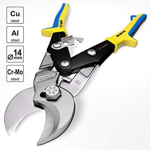 S&R Kraft-Kabelschneider 250 mm, Kabelschere mit Multi-Hebel-Mechanismus für Cu- und Al-Kabel. Elektriker-Werkzeug