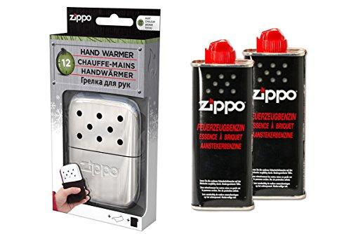 ZIPPO Handwärmer Premium Set Taschenwärmer Chrom Groß 12 Stunden Laufzeit + 2 x Benzin