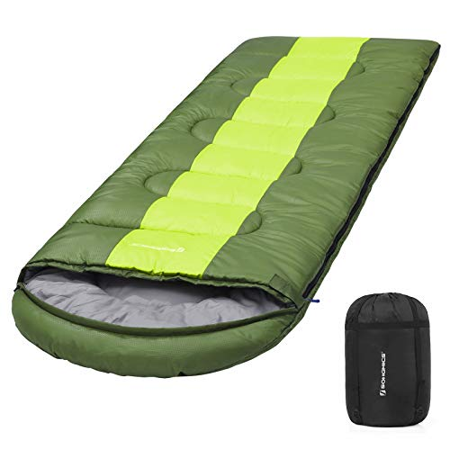 SONGMICS Camping Schlafsack mit Kompressionsbeutel, breiter Trekkingschlafsack für alle 4 Jahreszeiten, leicht zu tranportieren, kompakt, für Camping, 220 x 84 cm, Komforttemperatur 5-15°C, GSB02AJ