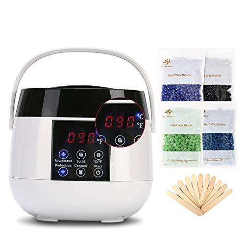 Wachswärmer mit LED-Anzeige, 4 Wachspackungen, 20 Wachspatel, Wachserhitzer für Haarentfernungsgerät  Achselhöhle Beine Bikini