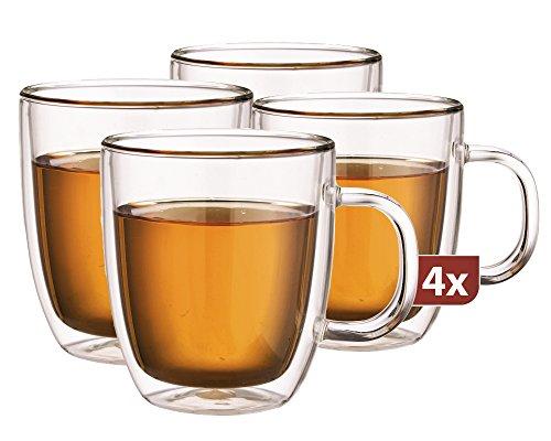 Maxxo Doppelwandige Gläser Extra Tee Set 4X 480 ml Thermogläser mit Schwebe-Effekt Teegläser Spälmaschinenfest