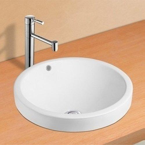 NEG Waschbecken Uno35E (rund/teilversenkt)Einbau-Waschschale/Waschtisch (weiß) mit schmalem Rand und Nano-Beschichtung