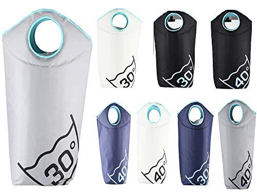 Mack Wäschesack Wäschekorb Wäschetasche faltbar und tragbar in Farbe Grau Beschriftung 30 Grad 100 L Fassungsvermögen