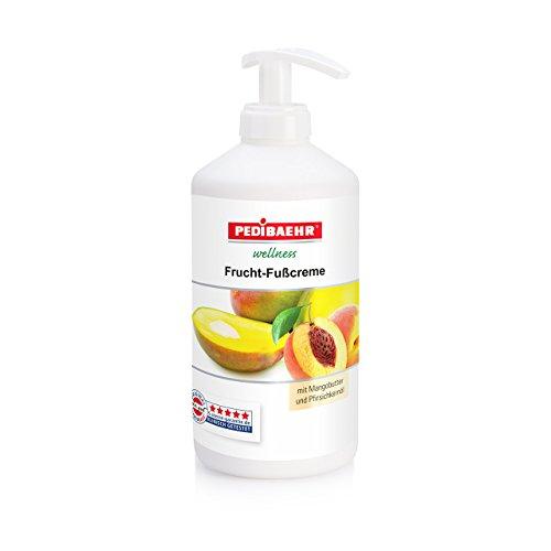 Fußbalsam, Frucht Fußcreme mit Mangobutter und Pfirsichkernöl Fusspflege für jeden Hauttyp, PediBaehr, 500 ml mit Spender