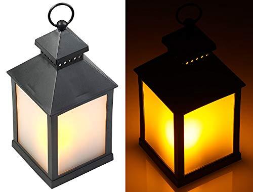 Lunartec Windlicht: LED-Laterne mit realistischem Flammenspiel und Timer, schwarz (Dekolaterne)
