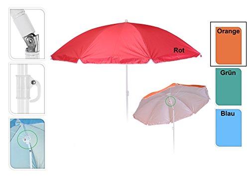 Meinposten Sonnenschirm Ø 138 cm Strandschirm Schirm mit 3 Haken Strand Urlaub UV Schutz (Orange)