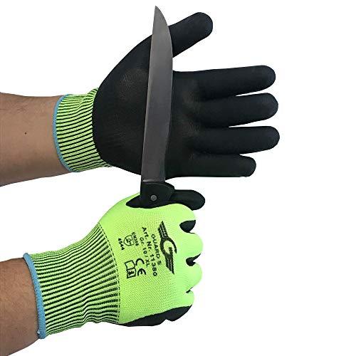 Schnittschutzhandschuh Level 5 Handinnenfläche und Fingerkuppen mit geschäumter Nitril Beschichtung - nahtlos, Strickbund (1, Gr.9)