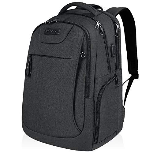 KROSER Laptop Rucksack 17,3 Zoll Computer Rucksack Schulrucksack Daypack Wasserabweisende Laptoptasche mit USB-Ladeanschluss für Reisen/Business/College/Frauen/Männer-Kohle schwarz MEHRWEG