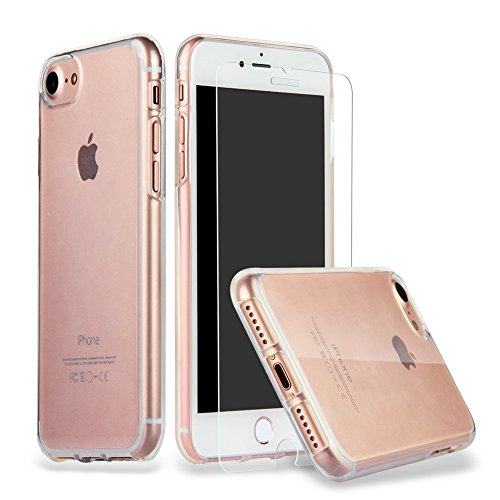 iPhone 8 iPhone 7 Hülle Case + Panzerglas, iLiebe iphone 7 Schutzhülle iphone 7 Hülle Case Cover Ultra-Transparente felxible TPU Silikon Handyhülle Hülle mit Anti-Rutsch Kratzfest Crystal Hülle-iPhone 7/8 Hülle + Panzerglas