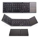 Drei Faltbare Bluetooth-Tastatur Mit Maus-Touchpad Tragbare Mini-Slim-Wireless-Tastatur Für Ios Android Windows Tablet Smartphone,Black