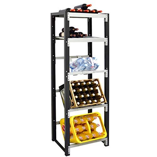 Getränkekistenregal für 3 Kisten plus Ablagen für Weinflaschen - für Wandmontage geeignet (Hauptregal)