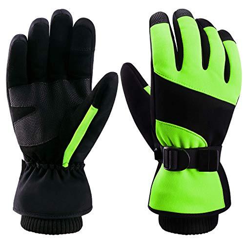 Molee Skihandschuhe, Herren Ski Snowboard Handschuhe Wasserdicht Warm Winterhandschuhe Winddicht (Schwarz/Grün, S)