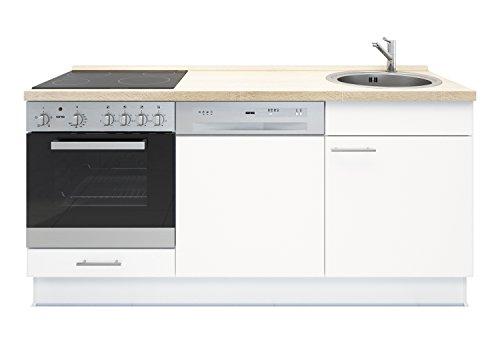 Miniküche mit Geschirrspüler, Spüle, Ofen, Kochfeld, Arbeitsplatte und Unterschränke - Weiß - Links ausgerichtet