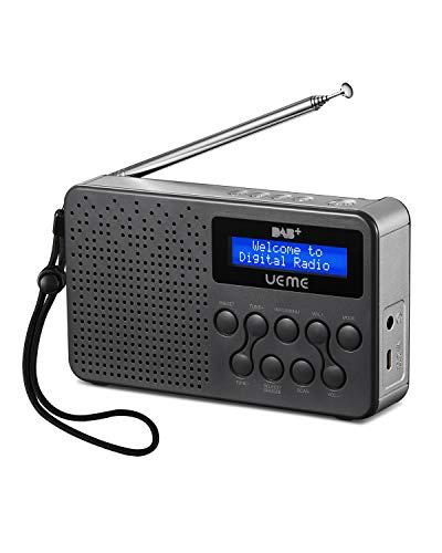 Tragbares DAB+ DAB FM-Radio mit Lautsprecher, eingebauter Akku (Grau/Silber)
