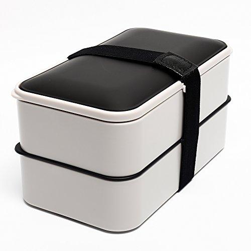 BOQUN 1200ml Bento Box Lunchbox Brotdose Brotbüchse mit Zwei Fächern  Spülmaschinenfest Mikrowellenfest - Inklusive wasserdichter Bento-Gurt Besteck