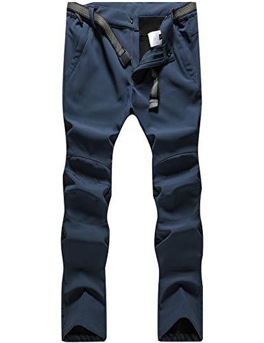 DENGBOSN Damen Wanderhose Wasserdicht Softshellhose Outdoorhose Winddicht Warm Gefüttert Winterhose Trekkinghose ,KZ3329W-Blue-M